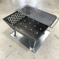 Fire Pits Oz Geometric Brazier, 1/2 Grill and Base Set